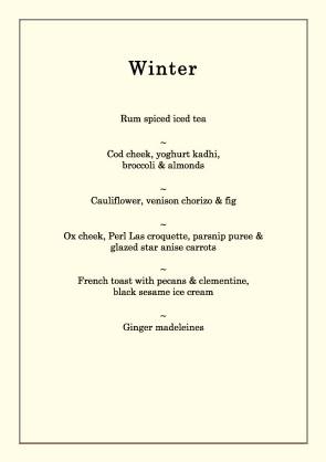 Winter menu meat